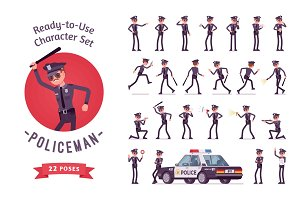 Young policeman ready-to-use character set