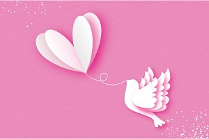 Happy Valentine's day Greeting card. Flying Love Balloon. Bird in paper cut style. Origami Romantic Dove. white heart. White pigeon. 14 February.