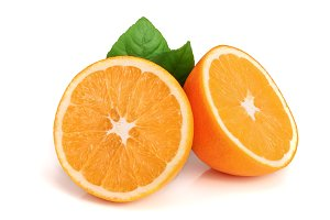 Orange half slice with leaf isolated on the white background
