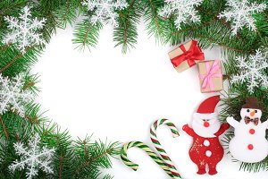 Christmas frame decorated with snowflakes isolated on white background with copy space for your text. Top view.