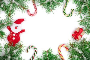 Christmas frame decorated isolated on white background with copy space for your text