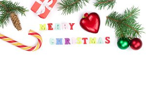 Christmas background with merry christmas inscription isolated on white background with copy space for your text