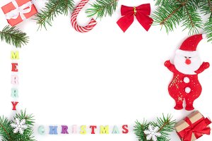 merry christmas inscription in frame made of fir branches isolated on white background with copy space for your text