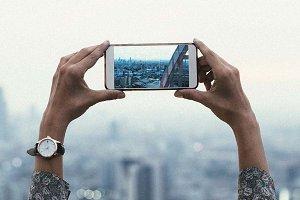 Woman taking photo (PSD)