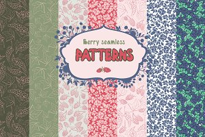 Set berry seamless patterns