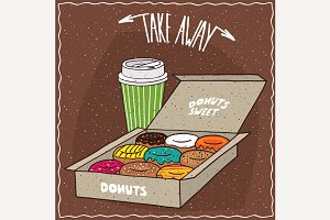 Donuts in box and cup of coffee