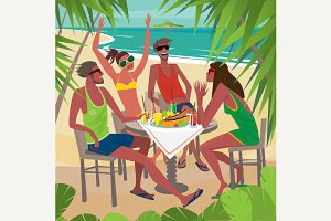Friends eating breakfast on beach