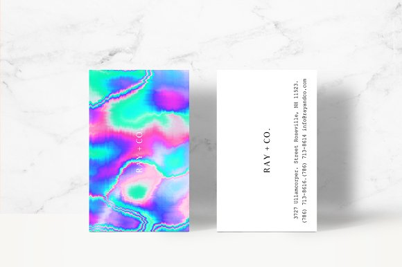 Holographic business card template business card templates holographic business card template business card templates creative market reheart Images