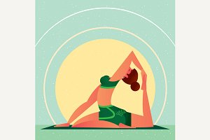 Girl in Yoga One-Leg Pigeon Pose