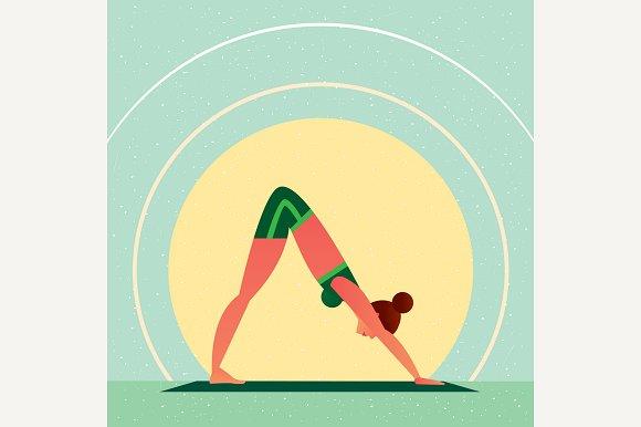 Girl In Yoga Down-Facing Dog Pose