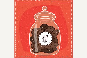 Glass jar with pile of cookies