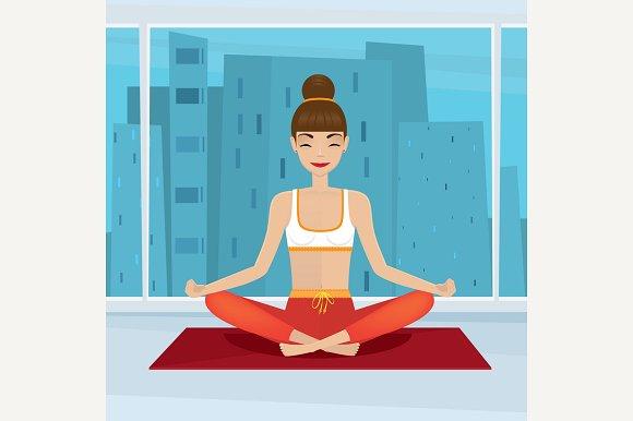 Girl In Yoga Pose Near Window