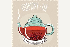 Glass teapot with goji berry tea