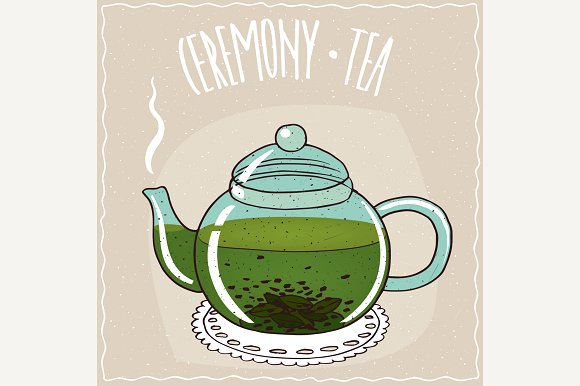 Glass Teapot With Green Tea