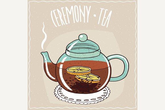 Glass Teapot With Lemon Black Tea