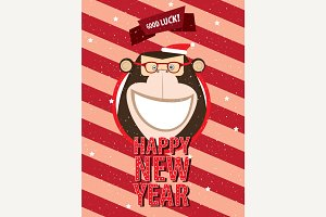 Happy New Year with monkey in frame