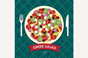 Table appointments with Greek salad