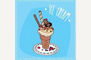 Ice cream with sweet tubes