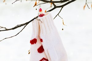 White mittens with red hearts decor are hanging on a tree branch