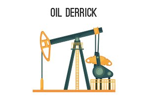 Oil derrick for natural product extraction isolated illustration