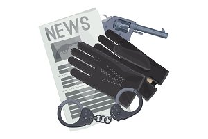 Professional detective accessories for crime investigation cartoon illustration