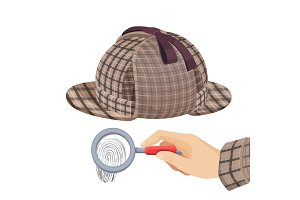 Vintage detective checkered hat and fingerprint under magnifier