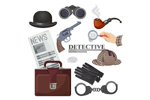 Professional retro detective accessories big isolated cartoon illustrations set