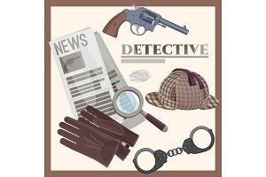 Retro detective accessories cartoon illustrations set on poster