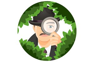 Detective with mustaches hides in thick bushes with magnifier