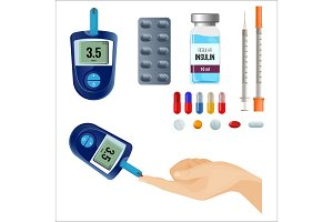 Device to measure sugar level and medicines for diabetes