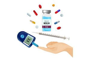 Insulin bottle, pills for diabetes and device for sugar level