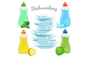 Dishwashing means with aromas and clean shiny dishes