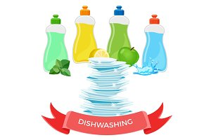 Dishwashing liquid means and pile of clean shiny dishes