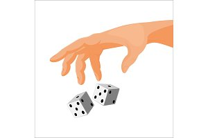 Human hand throws black and white dice isolated illustration