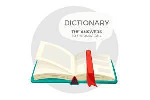 Open dictionary book with all answers to questions
