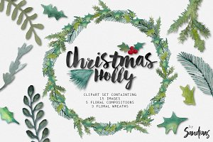 Christmas holly watercolor clip art