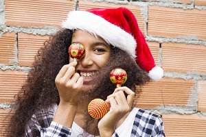 christmas girl with christmas balls