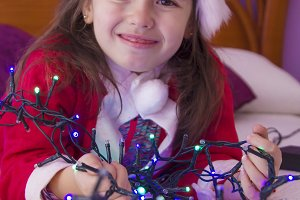 christmas girl with christmas lights