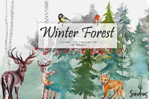 Winter forest clip art