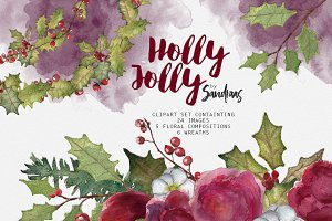 Holly jolly watercolor clip art
