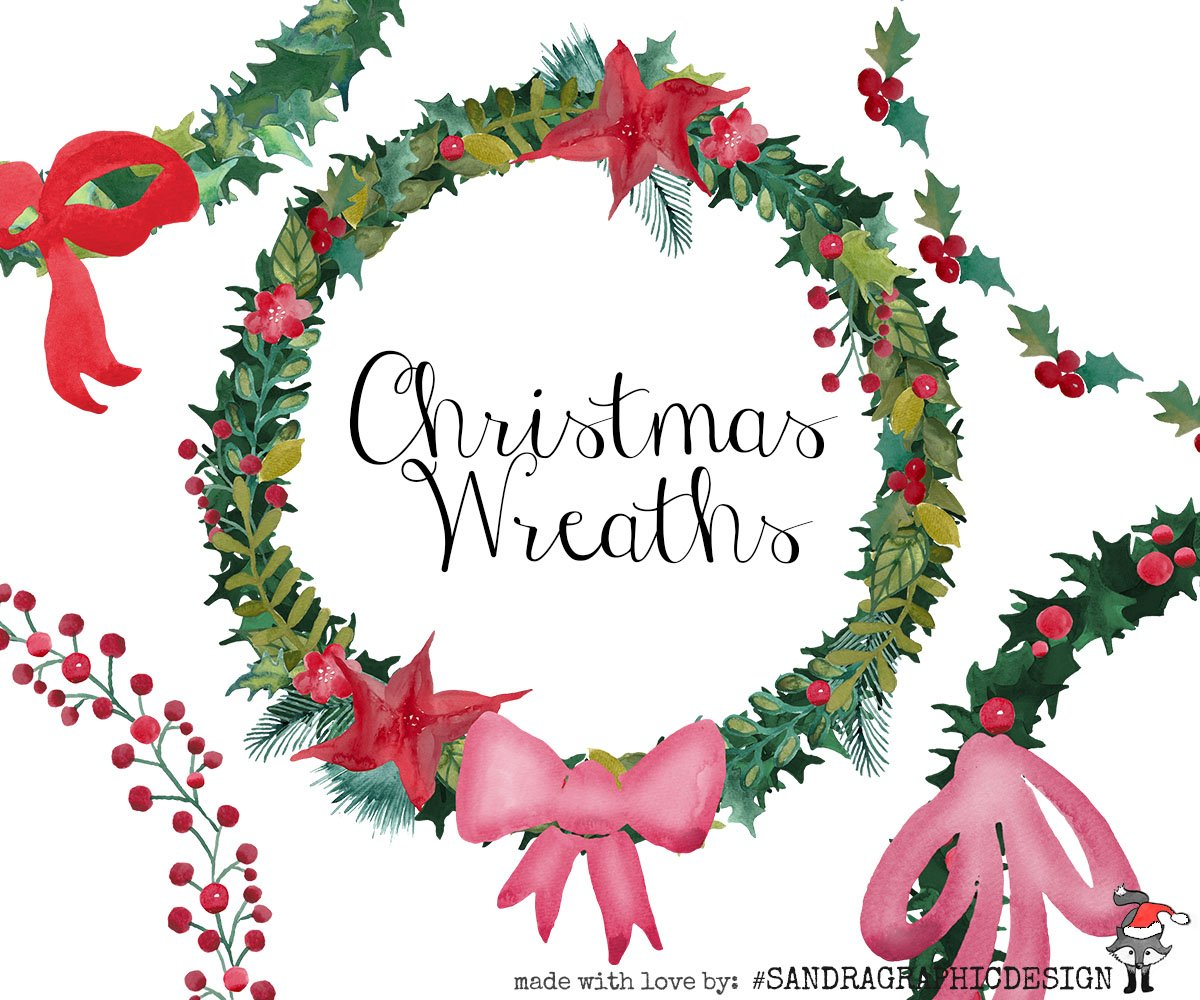 Christmas wreaths clip art ~ Illustrations ~ Creative Market