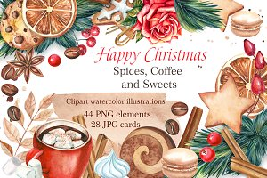 Christmas sweets clipart watercolor