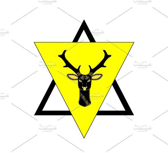 Deer Head In Triangle Graphics Creative Market