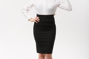 Business Concept - Modern caucasian business woman in the white studio background giving ok sign.