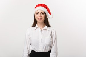Business Concept - Modern caucasian business woman in the white studio background with copy space.