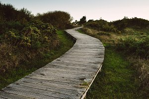 Wooden promenade in Frouxeira beach