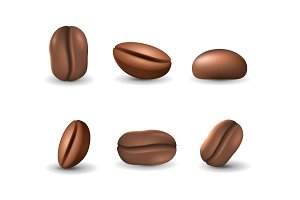 Set of coffee beans isolated on the white background. Realistic vector illustration.
