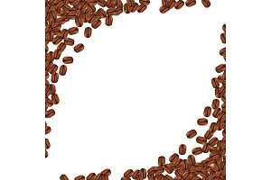 Background with realistic coffee beans and copy space. Vector illustration.