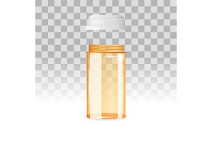 Open and empty pill bottle on the transparent background. Realistic vector illustration.