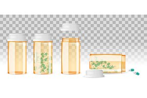Set of closed and open pill bottles on the transparent background. Realistic vector illustration.